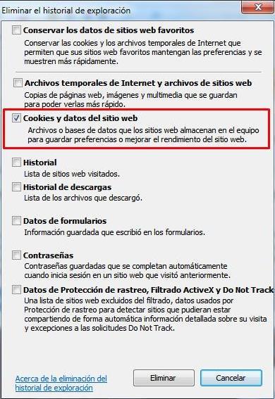 Como eliminar las cookies de Internet Explorer