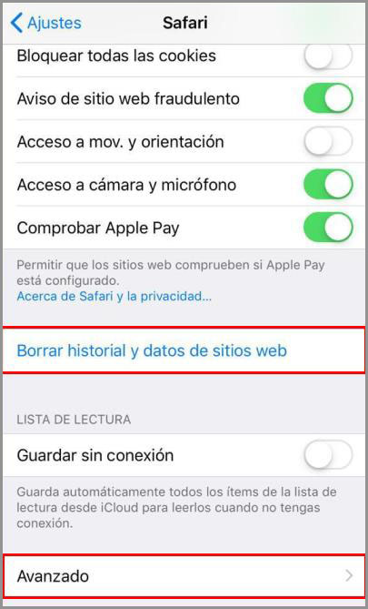 Como borrar las cookies del Iphone