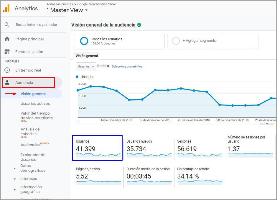 Visualización de usuarios en Google Analytics